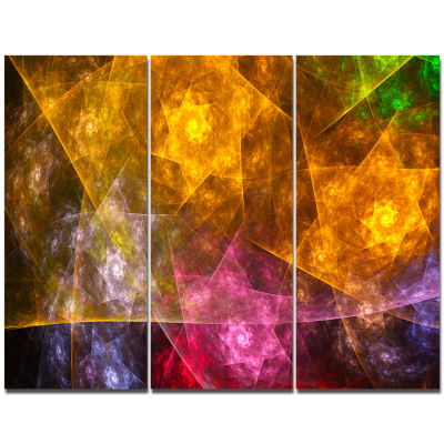 Designart Yellow Pink Rotating Polyhedron AbstractWall Art Canvas - 3 Panels