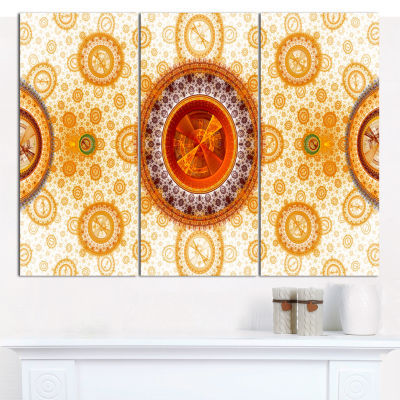 Designart Yellow Psychedelic Relaxing Art AbstractWall Art Canvas - 3 Panels