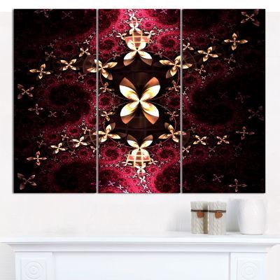 Designart Yellow Red Fractal Flower Pattern Abstract Wall Art Canvas - 3 Panels