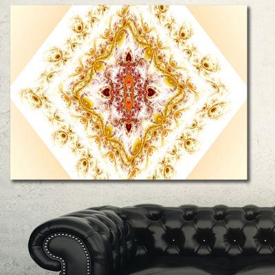 Designart Yellow Rhombus Fractal Design Abstract Wall Art Canvas