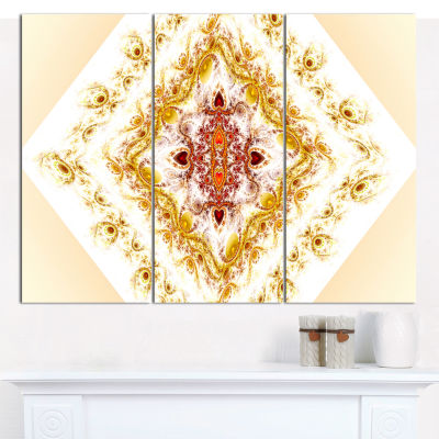 Designart Yellow Rhombus Fractal Design Abstract Wall Art Canvas - 3 Panels