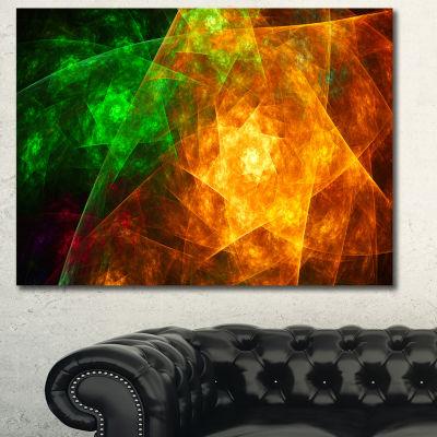 Designart Yellow Rotating Polyhedron Abstract WallArt Canvas