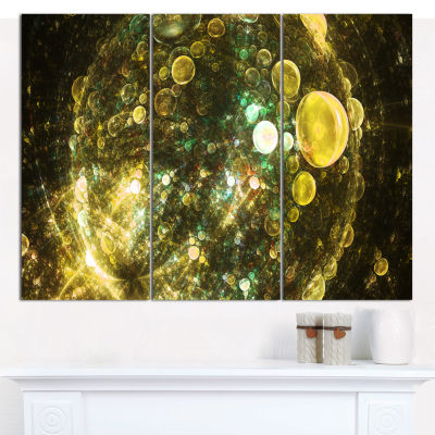 Designart Yellow Spherical Planet Bubbles AbstractWall Art Canvas - 3 Panels