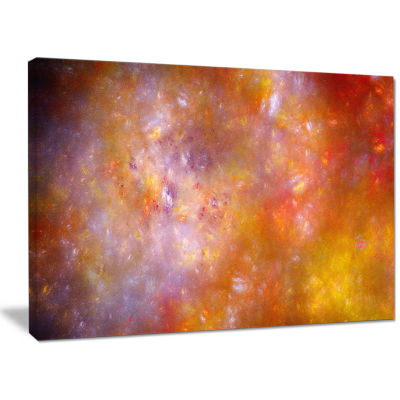 Designart Yellow Starry Fractal Sky Abstract WallArt Canvas