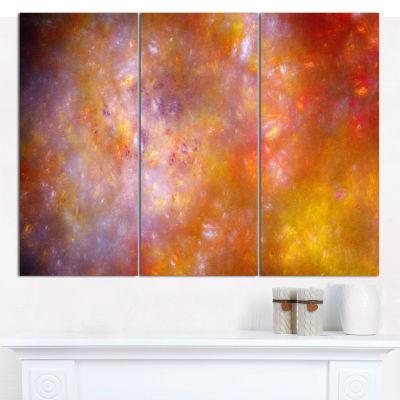 Designart Yellow Starry Fractal Sky Abstract WallArt Canvas - 3 Panels