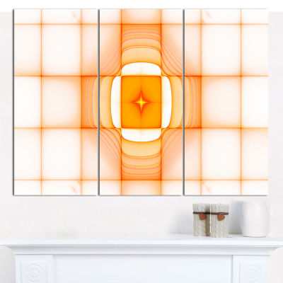 Designart Yellow Thermal Infrared Visor Abstract Wall Art Canvas - 3 Panels