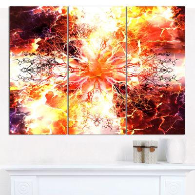 Designart Yellow Tree Pattern Mandala Abstract ArtOn Canvas - 3 Panels