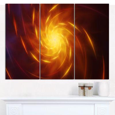 Designart Yellow Whirlpool Fractal Spirals Abstract Art On Canvas - 3 Panels