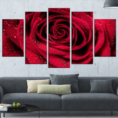 Designart Red Rose Petals With Rain Droplets Floral Art Canvas Print - 5 Panels