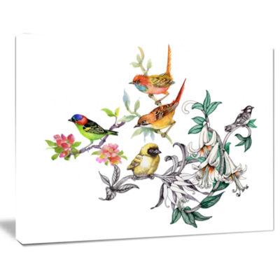 Designart Tropical Flowers And Birds Canvas Art Print