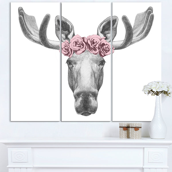 Designart Moose With Floral Head Wreath Moose Canvas Art Print - 3 Panels