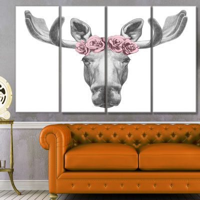 Design Art Moose With Floral Head Wreath Moose Canvas Art Print - 4 Panels