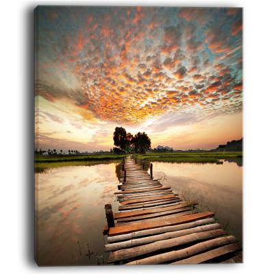 Design Art Makeshift Wooden Pier Over River Sea Bridge Canvas Art Print