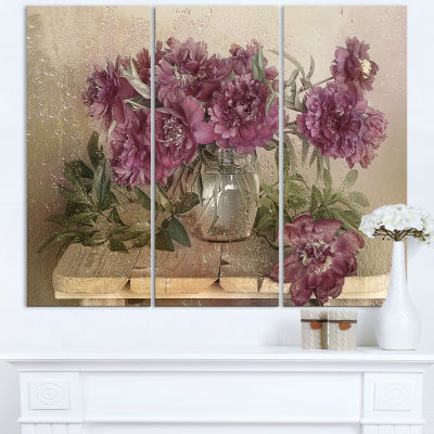 Design Art Bouquet Of Pink Peonies Floral Art Canvas Print - 3 Panels
