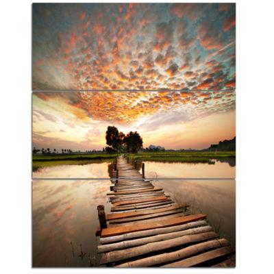 Design Art Makeshift Wooden Pier Over River Sea Bridge Canvas Art Print - 3 Panels