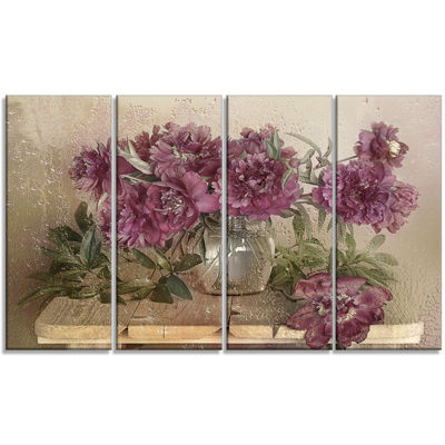 Designart Bouquet Of Pink Peonies Floral Art Canvas Print - 4 Panels