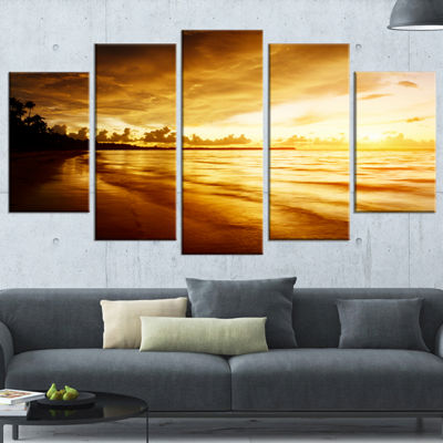 Designart Fascinating Caribbean Beach In Yellow Seascape Canvas Art Print - 5 Panels