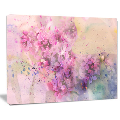 Designart Twig Of Lilac Flowers Wall Art Canvas