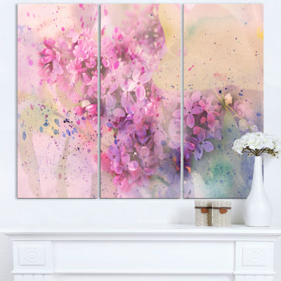 Designart Twig Of Lilac Flowers Wall Art Canvas -3Panels