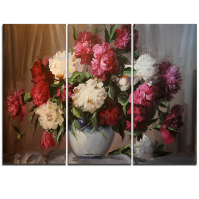 Design Art Bouquet Of Blooming Peonies Floral Wall Art Canvas - 3 Panels