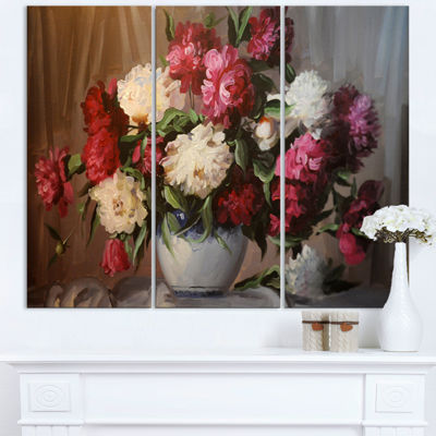 Designart Bouquet Of Blooming Peonies Floral WallArt Canvas - 3 Panels