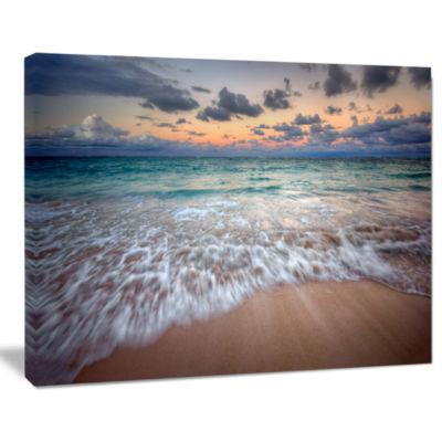 Designart Waves Crashing Serene Seashore Canvas Art Print
