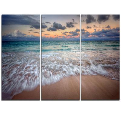 Designart Waves Crashing Serene Seashore Canvas Art Print - 3 Panels