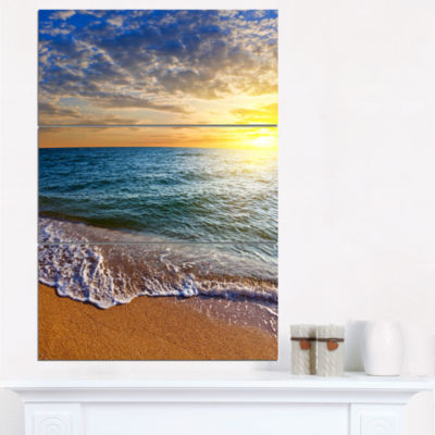 Designart Layers Of Colors On Sunrise Beach Seascape Canvas Art Print - 3 Panels