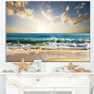 Designart Cloudy Sky And Vibrant Blue Sea Canvas Art Print