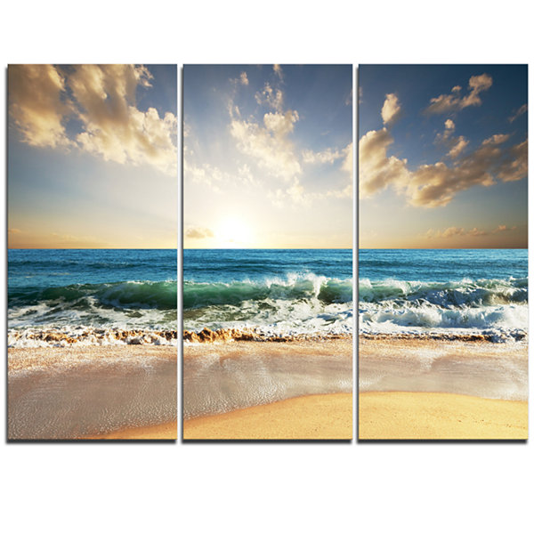Designart Cloudy Sky And Vibrant Blue Sea Canvas Art Print - 3 Panels