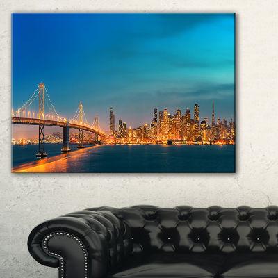 Designart San Francisco Skyline At Night (PT10036)Cityscape Canvas Print