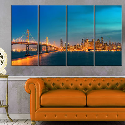 Design Art San Francisco Skyline At Night (PT10036) Cityscape Canvas Print - 4 Panels