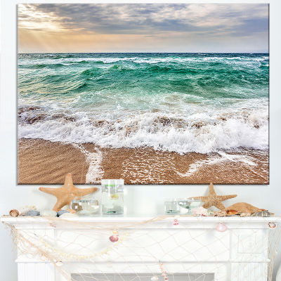 Design Art Crystal Clear Blue Foaming Waves Seascape Canvas Art Print