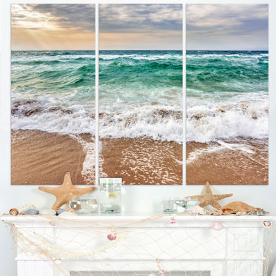 Designart Crystal Clear Blue Foaming Waves Seascape Canvas Art Print - 3 Panels