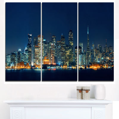 Design Art San Francisco Skyline At Night Cityscape Canvas Print - 3 Panels