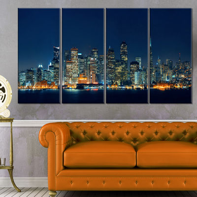 Designart San Francisco Skyline At Night CityscapeCanvas Print - 4 Panels