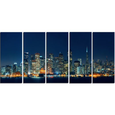 Designart San Francisco Skyline At Night CityscapeCanvas Print - 5 Panels