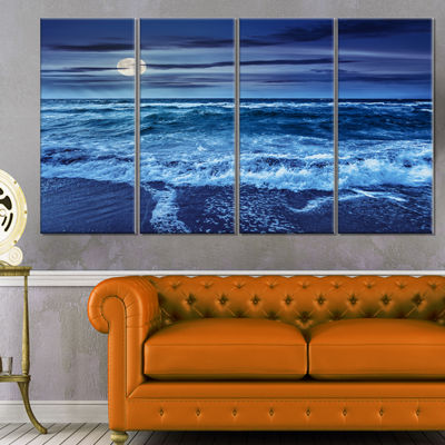 Designart Blue Everywhere Blue Sky And Waters Seascape Canvas Art Print - 4 Panels