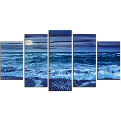 Designart Blue Everywhere Blue Sky And Waters Seascape Canvas Art Print - 5 Panels