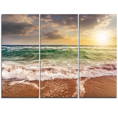 Design Art Sandy Beach Washed By Waves Seascape Canvas Art Print - 3 Panels