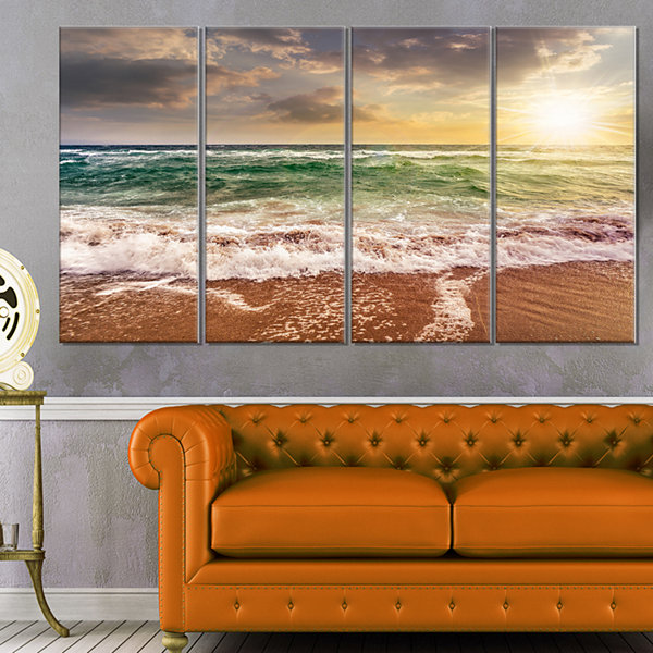 Design Art Sandy Beach Washed By Waves Seascape Canvas Art Print - 4 Panels