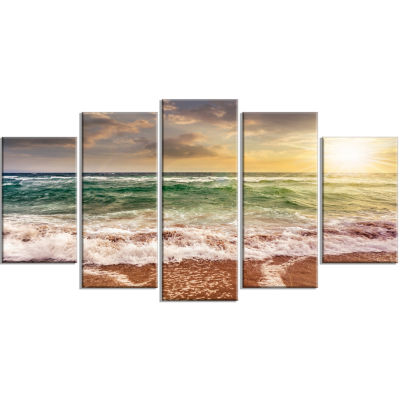 Designart Sandy Beach Washed By Waves Seascape Canvas Art Print - 5 Panels