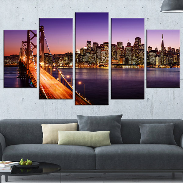 Designart San Francisco Skyline And Bay Bridge SeaBridge Canvas Art Print - 5 Panels