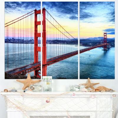 Designart Golden Gate Bridge In San Francisco SeaBridge Canvas Art Print - 3 Panels