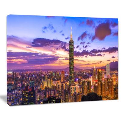 Design Art City Of Taipei At Sunset Cityscape Canvas Print
