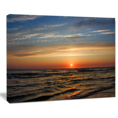Designart Red Sunset With Dark Ocean Waves Seascape Canvas Art Print