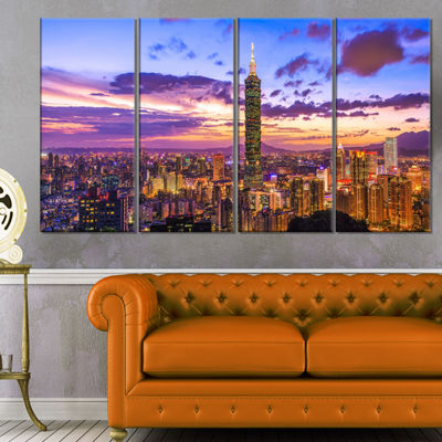 Designart City Of Taipei At Sunset Cityscape Canvas Print - 4 Panels