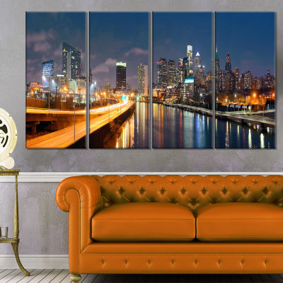 Design Art Philadelphia Skyline At Night Cityscape Canvas Print - 4 Panels