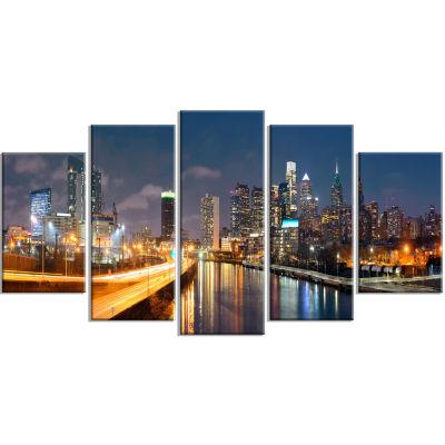 Designart Philadelphia Skyline At Night CityscapeCanvas Print - 5 Panels