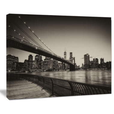 Design Art Famous Landmark Of Brooklyn Bridge Cityscape Canvas Print